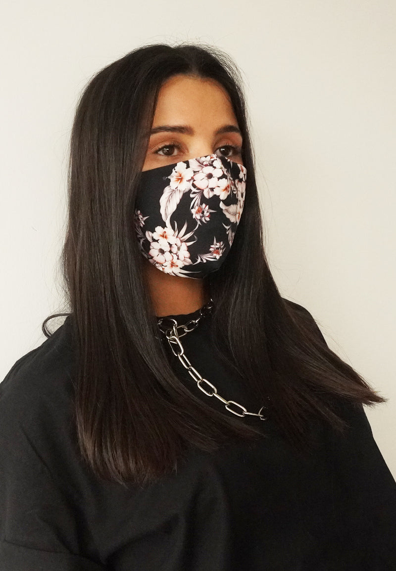 RELIGION Face Mask Dark Floral
