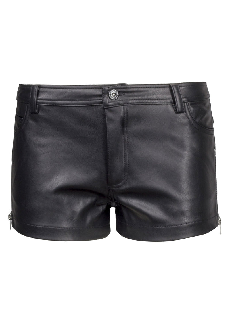 RELIGION Black Steel Shorts Zip Fly