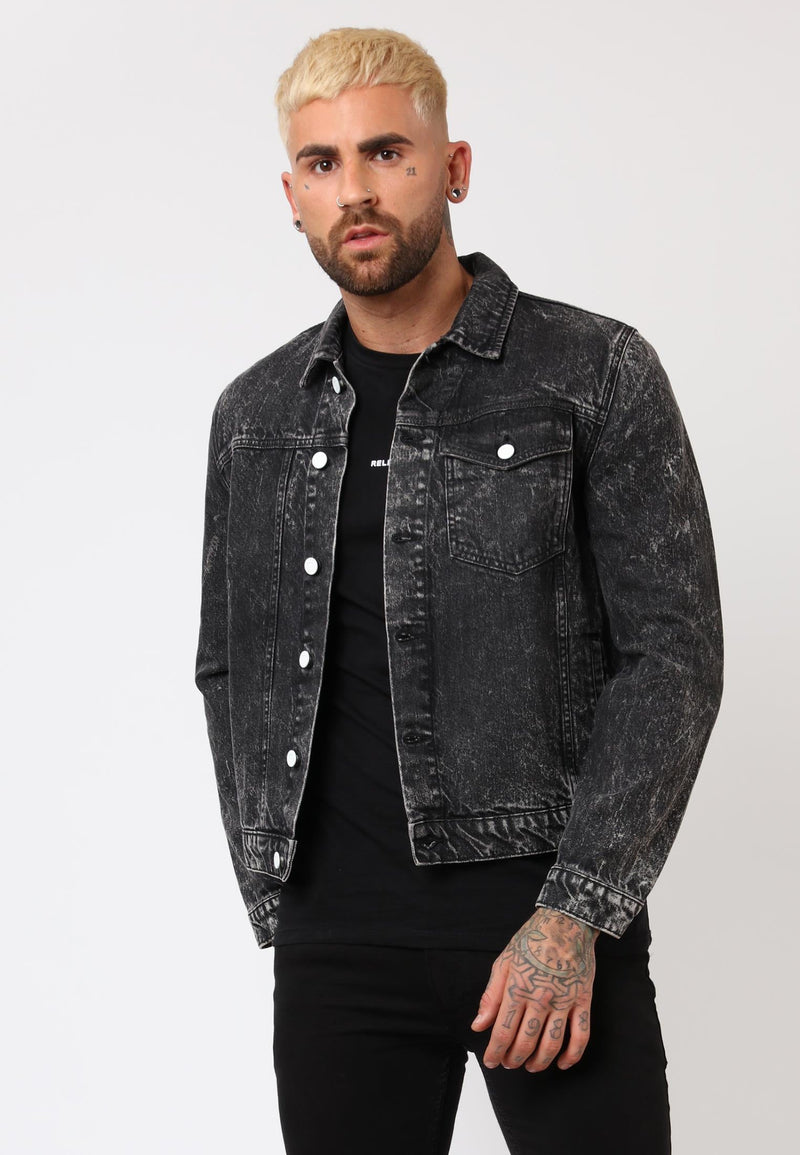 RELIGION Blitz Grey Speckle Denim Jacket