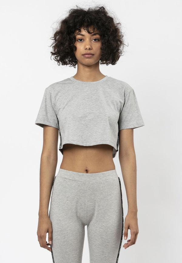 Religion Tranquil Boxy Fit Grey Crop T-Shirt Laura Barros