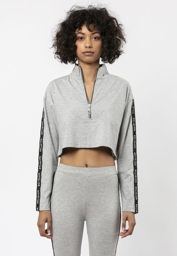 Religion Tranquil Boxy Fit Grey Track Top Laura Barros