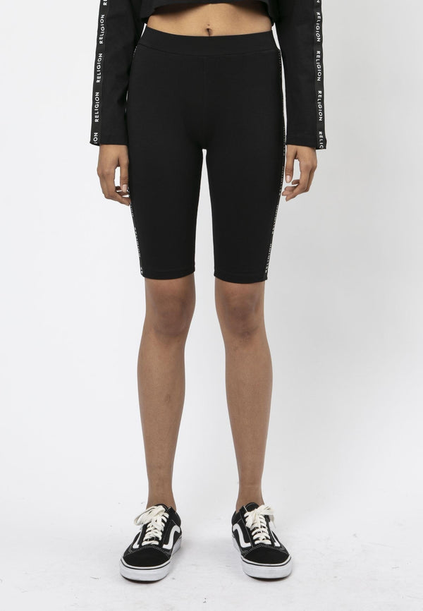 Religion Tranquil Cropped Black Cycling Shorts Laura Barros