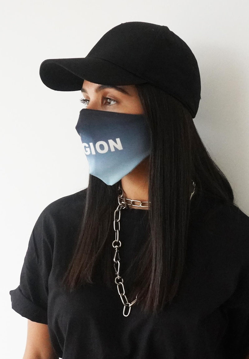 RELIGION Face Mask Gradient Baby Blue Print