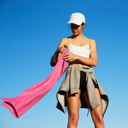 classic pink gym towel in microfibre material