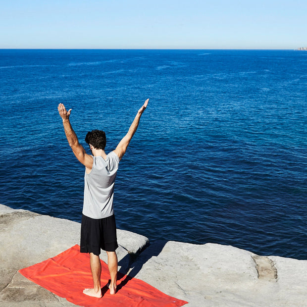 bondi red absorbant yoga towel