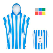 large adult hooded towel poncho blue