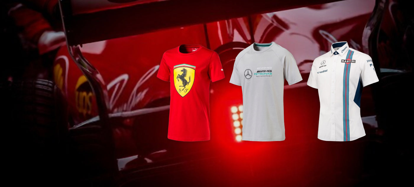 Official Scuderia Ferrari logo shield red t-shirt men Mercedes AMG Petronas Motorsport F1 Team PUMA t-shirt grey adult Williams Martini Racing Hackett London Team Button Up shirt white men