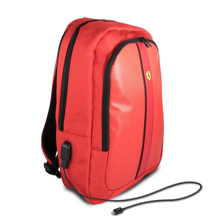 Scuderia Ferrari Laptop + Tablet Backpack Carbon Fiber Effect with Built-In USB Charging Port - Accessories - Red