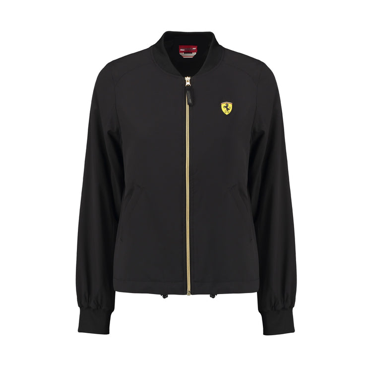 Scuderia Ferrari Bomber Long Sleeve Zip Up Jacket  - Women - Black