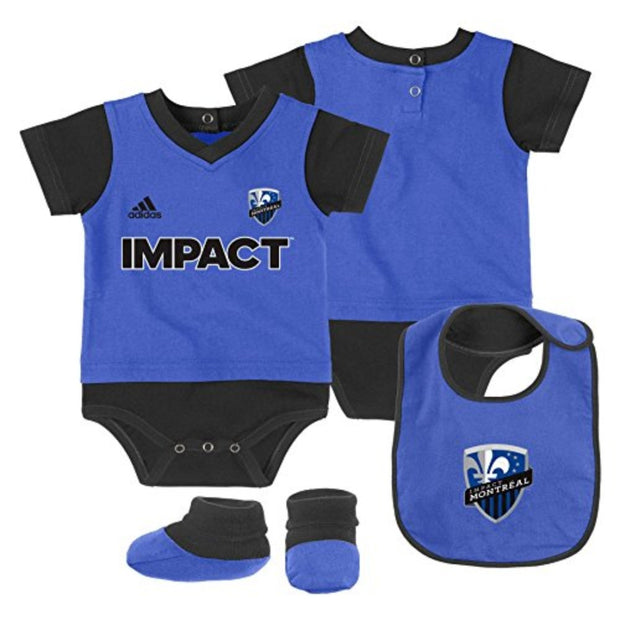 Newborn & Infant Adidas Montreal Impact Bib, Booties & Bodysuit Set - Kids - Blue