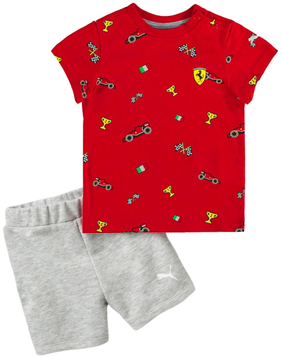 Scuderia Ferrari Puma Infant Graphic Set with shorts - Kids - Red and Grey
