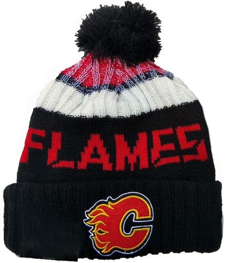 Calgary Flames adidas Unisex Flames Ugly Sweater Cuffed Pom Beanie - Accessories