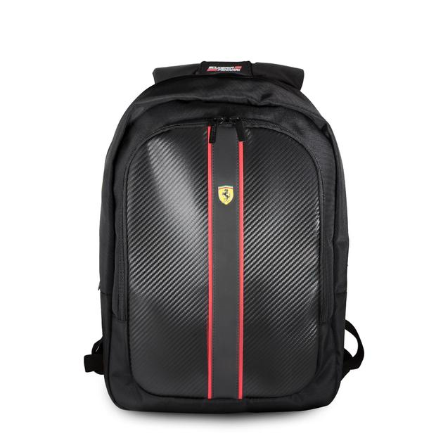 Scuderia Ferrari Laptop + Tablet Backpack Carbon Fiber Effect with Built-In USB Charging Port - Accessories - Black
