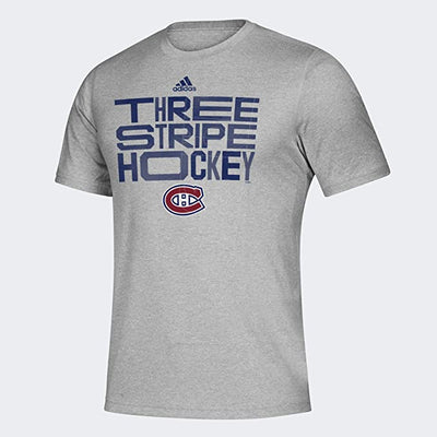 New Adidas Montreal Canadiens Three Stripe Hockey T-shirt - Men - Grey