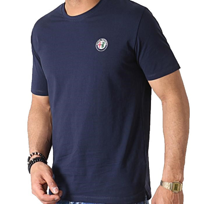 2019 Alfa Romeo Racing Front Logo T-Shirt - Men - Blue - FanaBox
