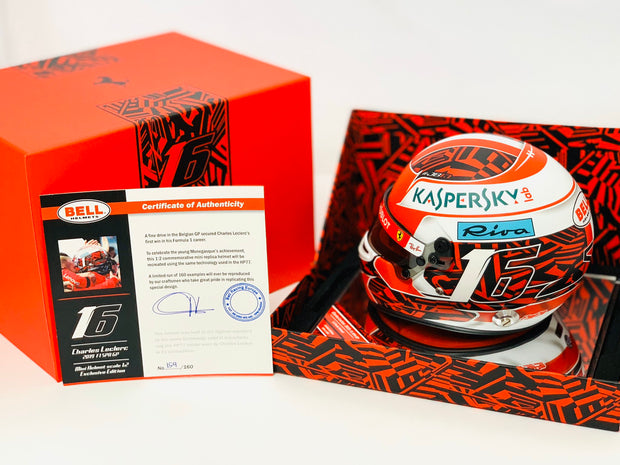 Charles Leclerc Bell Racing Spa Grand Prix Deluxe Limited edition 1:2 scale mini original COA helmet