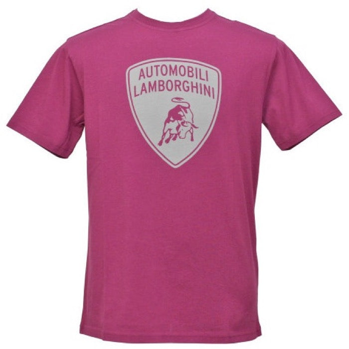 Lamborghini Big Shield Print T-Shirt - Men - Raspberry - FanaBox