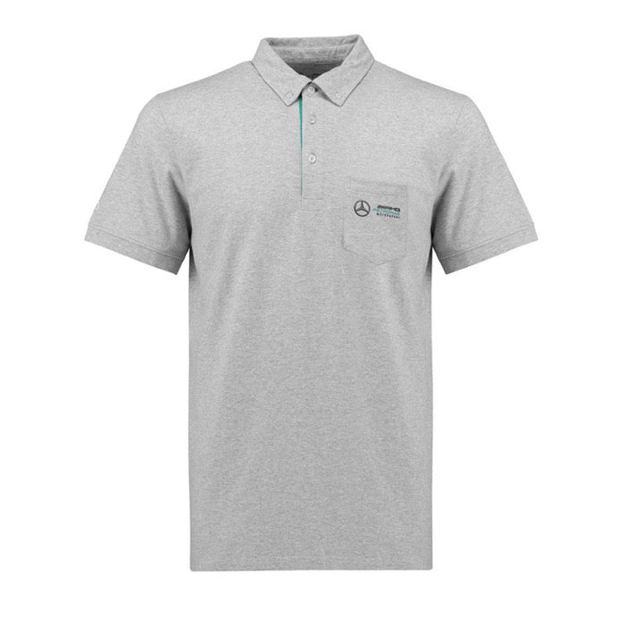 Mercedes AMG Petronas Motorsport Fanwear Marl Classic Polo - Men - Gray - FanaBox