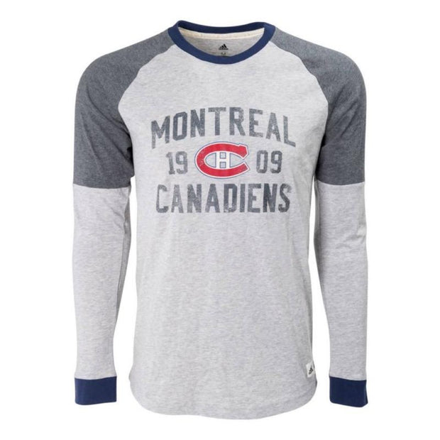 Montreal Canadiens Adidas Vintage Long Sleeve Shirt - Men - Grey - FanaBox