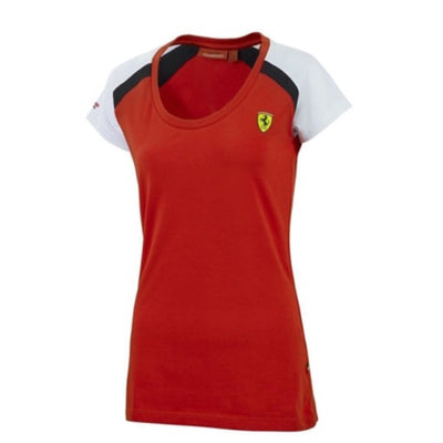 Scuderia Ferrari Race T-Shirt - Women - Red and White - FanaBox