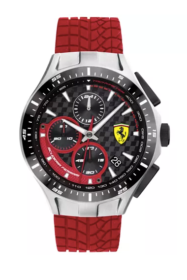 Ferrari Men's Chronograph Race Day Red Silicone Strap Watch 44mm