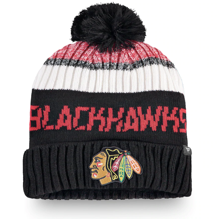 Chicago Blackhawks Fanatics Branded Authentic Pro Rinkside Goalie Cuffed Knit Hat with Pom - Black/Red