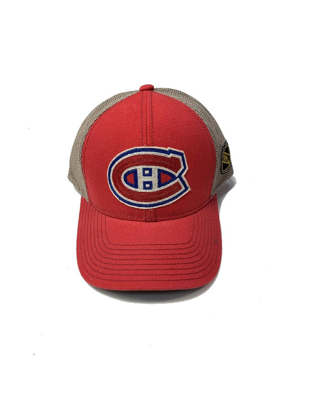 Montreal Canadiens CCM Vintage Snapback Meshed Baseball Cap - Men - Red & Brown