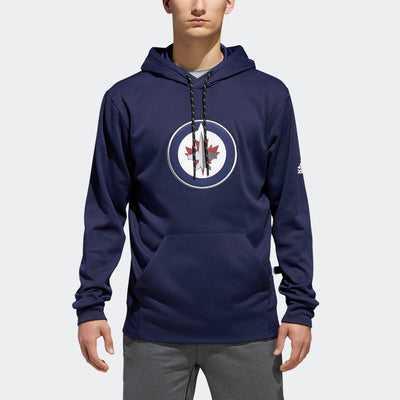 Winnipeg Jets Adidas Pullover Hoodie - Men - Blue Navy