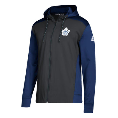 Toronto Maple Leafs Adidas NHL Authentic Full Zip Hoodie - Men - Grey & Blue