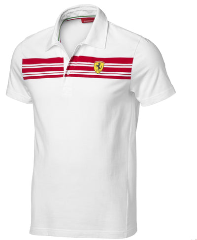2019 Scuderia Ferrari Striped Polo - Men - White - FanaBox