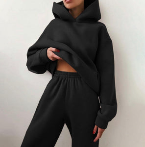 Black Jogger And Hoodie 2 Piece Set