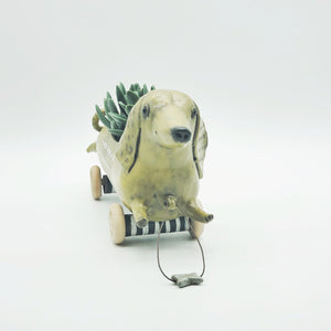 Wheely Dog Planter with Bone Pull