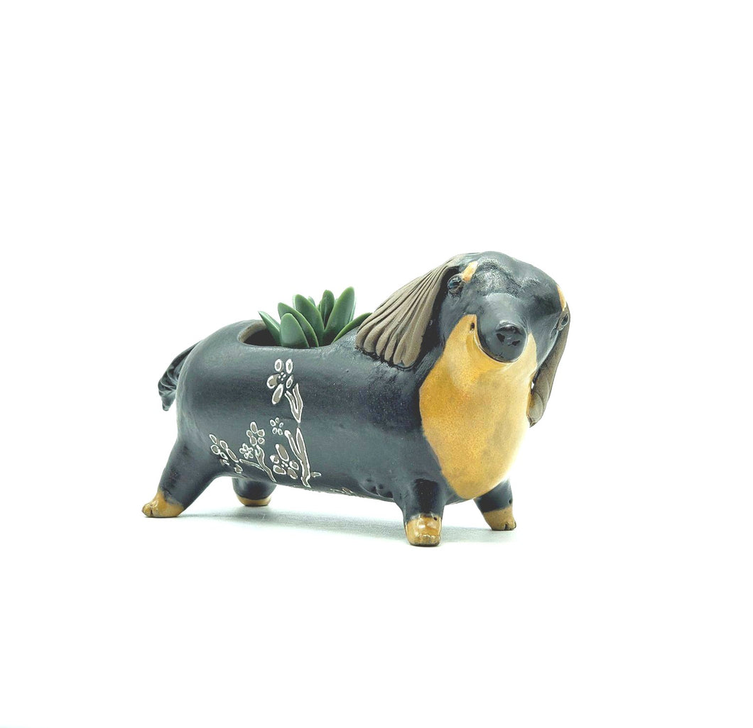Black and Tan Dachshund Planter