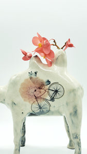 Camel Vase with Cycling Kitty