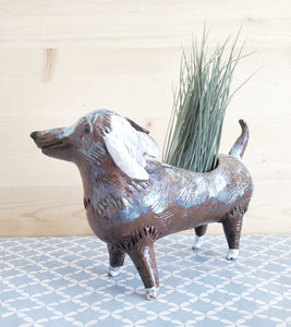 Brown spotted dachshund planter