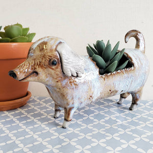 Yellow Dachshund Planter
