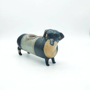 Dachshund Planter with Green Middle