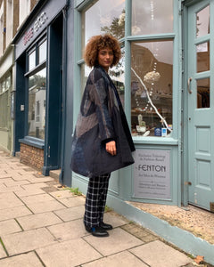 Open Shibori Wool Coat with Front Pockets