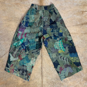 Cropped Camo Patchwork Wide-Leg Trousers