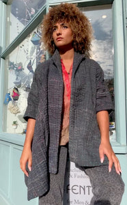Oversized Quilted Distressed Kantha Jacket with Pockets