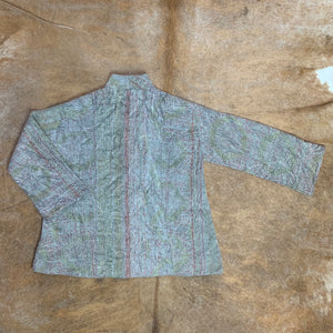 Pastel Kantha Jacket with Teal Contrast