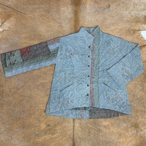 Light Blue Kantha Jacket with Faded Brown and Green Patterns