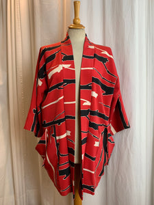 Red Vintage Silk Kimono with Great Drape Pockets