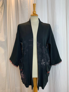 Metallic Pink Urushi Design Silk Kimono with Pockets