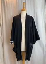 Load image into Gallery viewer, Black & White Dressy Silk Kimono with Big Pocket Pouch