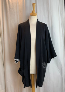 Black & White Dressy Silk Kimono with Big Pocket Pouch
