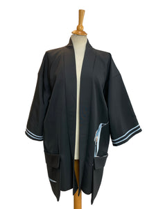 Black Silk Haori with Hand-painted Bird Design and Pockets
