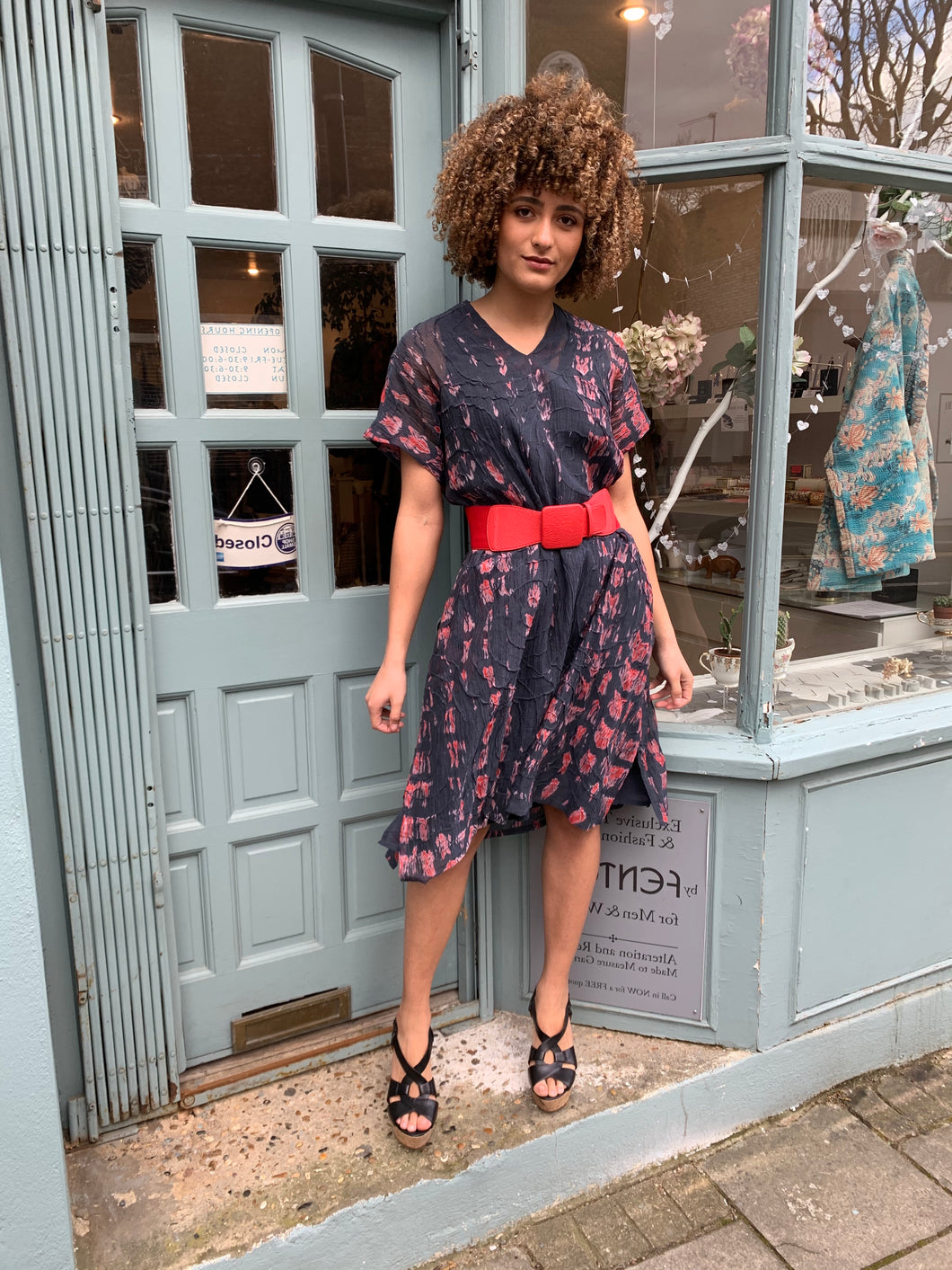 Cap Sleeve Shibori A-Line Dress