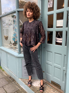 Shibori Cotton-Silk Pintuck Blouse