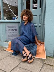 Square Cotton Silk Shibori Kaftan
